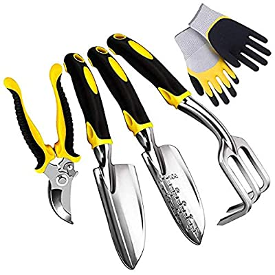 Number-one 5 Piece Garden Tool Set Including Transplanting Spade, Trowel, Cultivator, Pruner and Gardening Gloves, Gardening Tools Kit with Heavy Duty Cast-Aluminium Heads & Ergonomic Handles