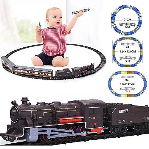 BAKAJI Trenino Far West a Batteria Pista Treno Elettrico con Luci e Suoni 3 Piste Componibili Curato in Ogni Dettaglio con 3 Vagoni Merci Giocattolo Bambini