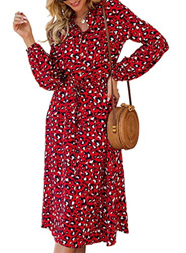 FOBEXISS Vestido maxi de mujer con estampado de leopardo con cuello en V y manga larga con lazo en la cintura elegante para mujer