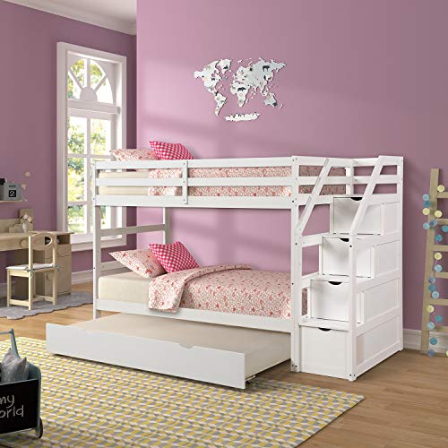 Solid Pine Bunk Bed with Feature a Pull Out Trundle Bed for Children's Bedroom with 3 Storage Drawers for Student Dormitory U.s. Local Shipments Can Arrive Quickly (Color : White)
