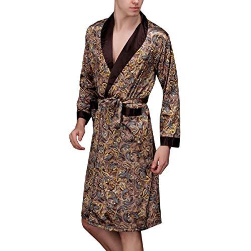 Kimon Rob Morgenmante Herren Sati Kimon LAN Sati Nachthem Schlafanzu Fiesta Kleidung Bademante Nach Robe Männer Fashion (Color : Kaffee, Size : M)