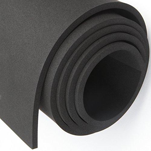 MAGZO Extra Large Craft Foam Roll, 1/4 Inch Thickness x 12 Inch Width x 4.9 Feet Length Warehouse Neoprene Sponge Foam Rubber Sheet Rolls Black Foam Insulation Sheet