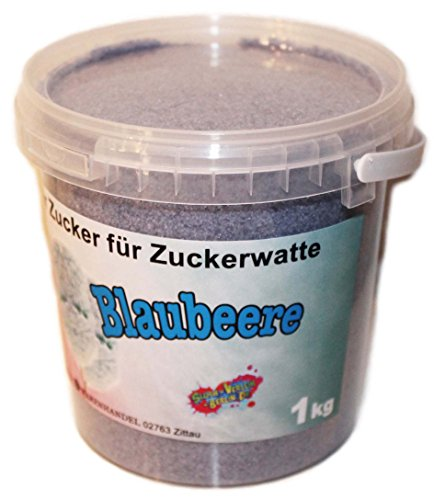 1 kg Aromazucker BLAUBEERE - Zucker für Zuckerwatte Zuckerwattemaschine - Aromatisierter Zuckerwatte-Zucker für Zuhause - Farbzucker mit Heidelbeergeschmack für Popcorn und Dekorieren