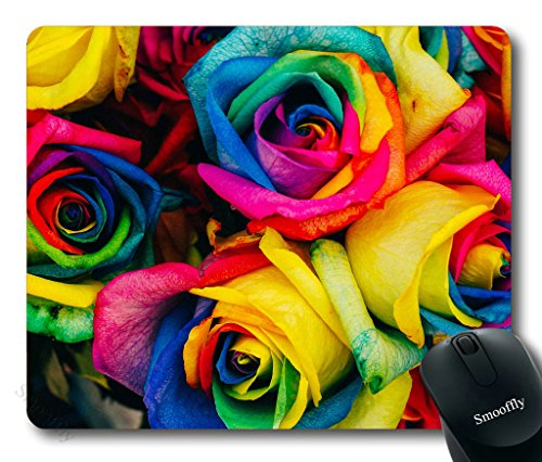 Smooffly Rose Mouse Pad,Colorful Rose Petals Rainbow Rose Petals Customized Rectangle Non-Slip Rubber Mousepad Gaming Mouse Pad