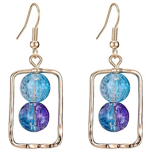 Pendientes de Plata con Bola de Cristal de Perlas Pendientes de Plata de Ley 925 chapados en Platino Post para Mujeres niñas