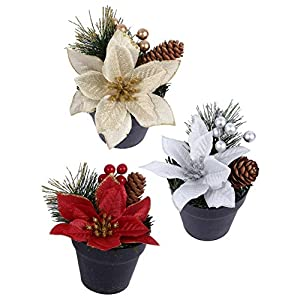 Amosfun 3pcs Christmas Glitter Poinsettia Flowers Potted Plant Pine Tree Bush Flower Bouquet Vase Silk Flower Arrangement with Pine Cone for Wedding Xmas Gift 15cm
