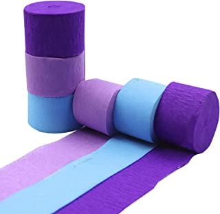 Crepe Paper Streamer Rolls Hanging Party Decoration Total 490-Feet, 6 Rolls, Mermaid Theme Purple Green Party Streamer for Wedding Bridal Baby Shower Birthday DIY Art Project Supplies, by BllalaLab