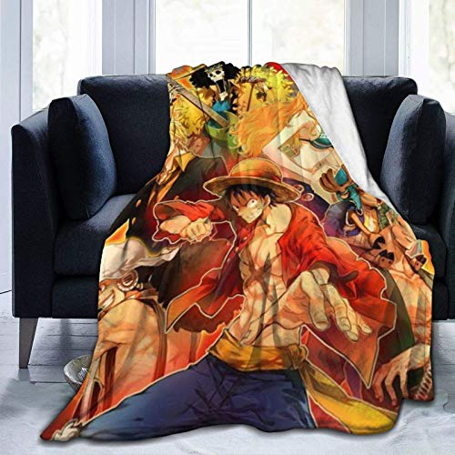 GOSMAO Batamanta Polar Suave y Acogedor Manta de Forro Polar a Cuadros de Cama y Sofa Anime O-ne Pie-CE 127X102 cm
