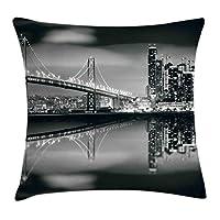 Ambesonne黒と白の枕カバー、サンフランシスコベイブリッジメトロポリスパノラマビュー、高層ビルのプリント、装飾的なスクエアアクセントの枕カバー、グリーン