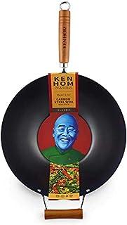 Ken Hom Classic KH335001 Wok en Acier Carbone avec Revêtement Antiadhésif, ø35 cm, Noir