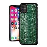 Caja de la caja del teléfono de cuero de la avestruz del pie, la cubierta protectora del teléfono ocasional de los negocios para Apple iPhone 11 / iPhone 11Pro / iPhone 11Promax, Green, iPhone11 funda