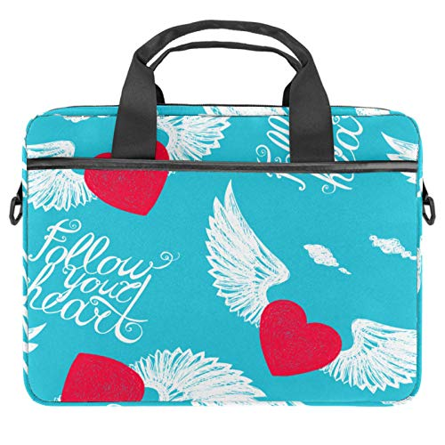 Laptop Bag Follow Your Heart Cute Love Wings Notebook Sleeve with Handle 13.4-14.5 inches Carrying Shoulder Bag Briefcase