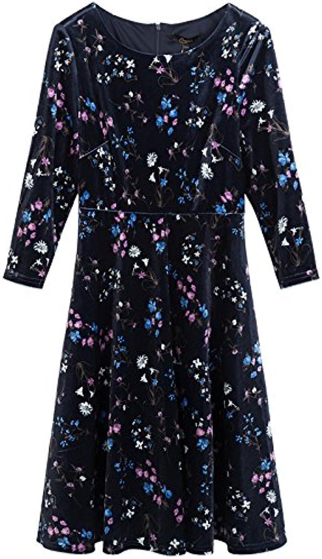 ZHUDJ The Winter Dress Female Temperament Seven Sleeve Slim Waisted A-Line Dress Printing A