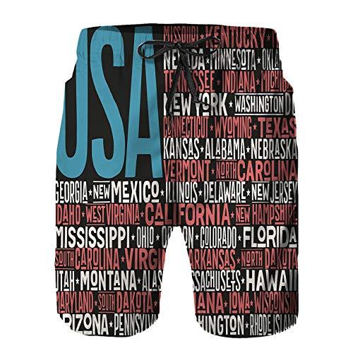 Pantalones Cortos De Playa para Hombres,Color de Las Letras de la Bandera Americana,Pantalones De Chándal De Secado Rápido, Bañador De Verano para Ejercicios Al Aire Libre XL