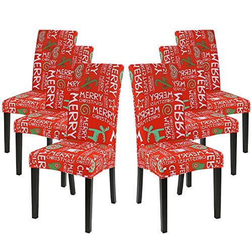 IVYSHION Weihnachten Stuhlhussen Stretch Stuhlhussen Universal Elastischer Weihnachten Stuhlbezug, Abnehmbarer Moderne Dekorative Schutzhülle für Husse Bankett Party Hotel (Weihnachten,6er Set)