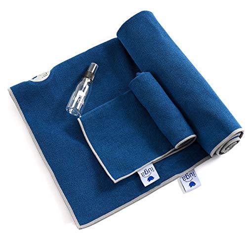 IUGA Yoga Towel, Extra Thick Hot Yoga Towel + Hand Towel 2 in 1 Set, Corner Pockets Design to Bunching