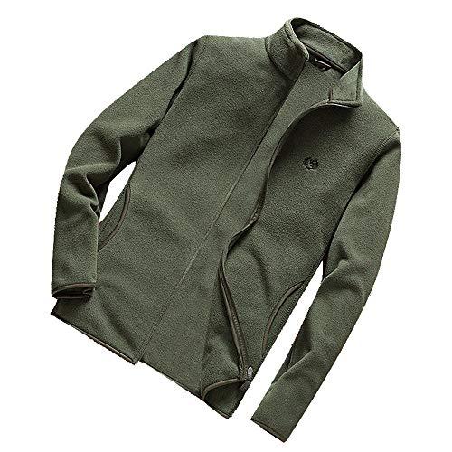 Xmiral Herren Jacke Mantel Winter Warm Reine Farbe Plus Size Schlank Zipper Outwear (L,Armeegrün)