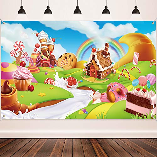 Donut Candy Birthday Party Backdrop Banner, Large Fabric Sweet Donut Candy Backdrop for Candy Party Decoration, Sweet Cartoon Landscape Baby Shower Background Photo Props, 72.8 x 43.3 Inch
