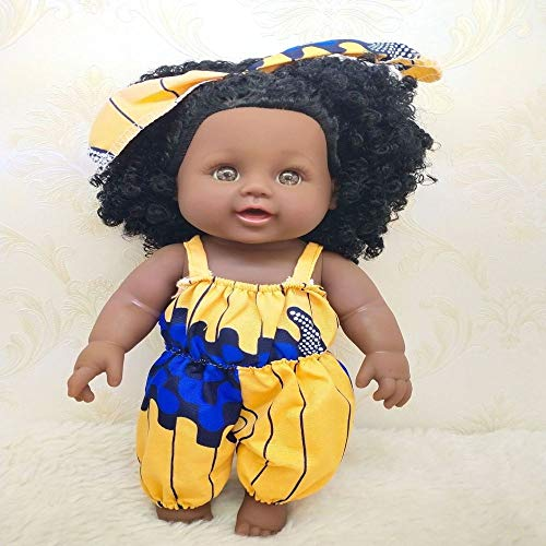 Reborn Baby Doll Real Body Roto-PVC Baby Girl Doll Black Indian Style Muñeca Suave 12 Pulgadas 30cm