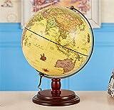 Globo terráqueo Antiguo para niños - Globo Decorativo de Escritorio de 12.6 'con Soporte, Adornos de Globo terráqueo geográfico con iluminación HD
