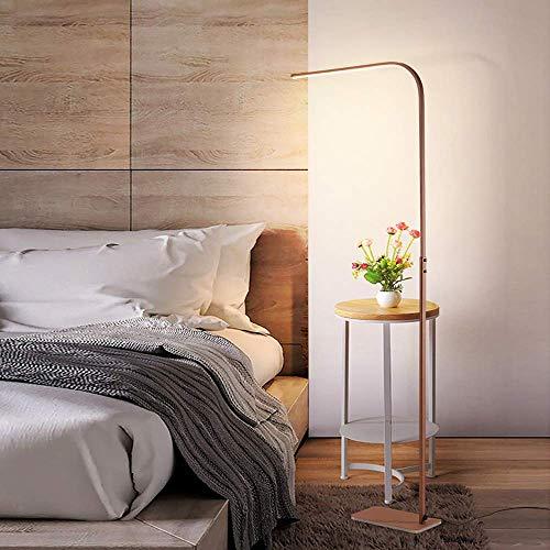 ZRABCD Lámpara de pie LED, lámpara permanente marrón regulable con control remoto, temperaturas de color, interruptor de pie, 166 cm, luz moderna del piso para sala de estar, dormitorio, oficina, est