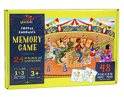 Little Likes Kids - Joyful Carousel - Memory Card Game for Kids Ages 3 Years and Up - 24 Matching...