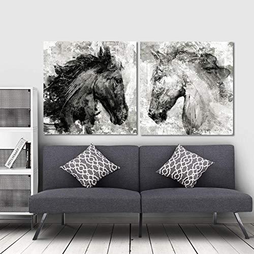 WSHIYI Arte Abstracto Carteles e Impresiones Arte de la Pared Lienzo Pintura Cabeza de Caballo Tinta Cuadros Decorativos para la Sala de Estar Decoración del hogar-50x50cmx2pcs sin Marco