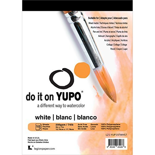 Yupo Papel 12,7cm x 17,8cm (7Pulgadas) 10Hojas de Papel de Yupo/Pkg-White 74LB, Otros, Multicolor por Papel de Yupo