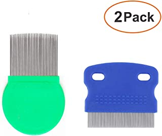 2 Pack Pet Dog Cat Flea Comb Tear Eye Stain Remover Combs, Hair Brush Effectively Clean and Removes Tangles, Dirt, Fleas, ...