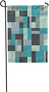 Nick Thoreaufhed Garden Flag Blue Geometric Rectangles and Squares The Patchwork Quilt Pattern Abstract Home Yard House Decor Barnner Outdoor Stand 12x18 Inches Flag