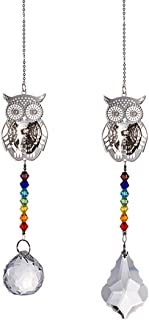 Crystal Suncatcher Chakra Colors Beads Owl Window Hanging Ornament Rainbow Suncatcher,Pack of 2 for Christmas Day,Wedding,...