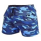 Shorts D'entraînement pour Hommes Entrejambe 4 Pouces Slim Fit Extensible 95% Coton éponge 5% élasthanne pour La Course à Pied, La Musculation, Le Sport Color Camo Blue Size L