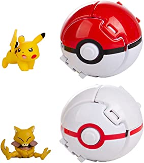 2-Piece Throw PokePets Ball Figure Action Figure Toy Collection Pocket Monster Details Action Figure for Children's Toy Set