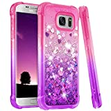 Ruky Galaxy S7 Case, Gradient Quicksand Series Glitter Bling Flowing Liquid Floating Soft TPU Bumper Cushion Protective Women Girls Cute Case for Samsung Galaxy S7 (Pink Purple)