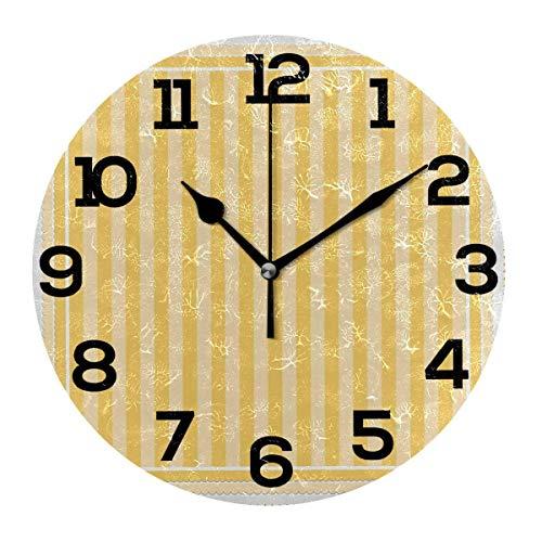 REAlCOOL Reloj de Pared Redondo con Textura de Rayas Amarillas Reloj de Escritorio silencioso Que no Hace tictac Reloj con Pilas para la decoración de la Escuela de la Oficina en casa