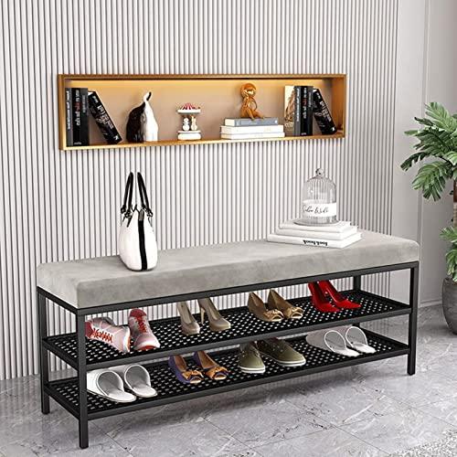 Banco de almacenamiento de entrada Banco de zapatos para cambio, tapizado de terciopelo de hierro de 2 niveles Banco de almacenamiento de zapatos de entrada, taburete largo rectangular para zapatos, a