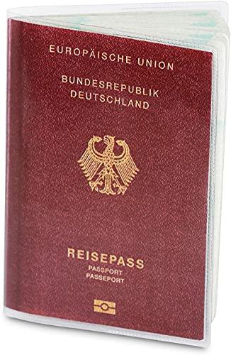 2 x Reisepasshülle für den NEUEN Reisepass (ab April 2017), dokumentenecht und transparent in reißfester Schutzhülle. Schützt Ihren Pass vor Wasser, Staub und Schmutz   Zwei Passport Holders im Set