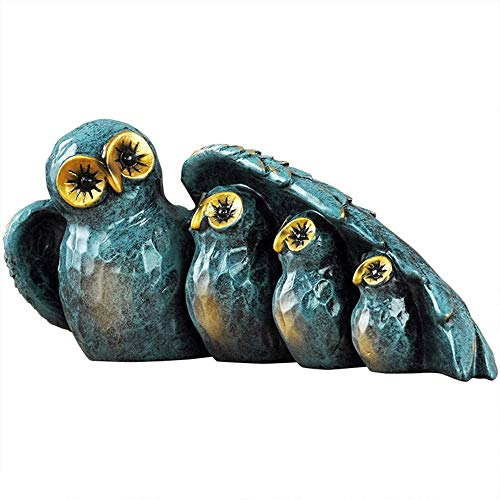 VHFJK Decorative sculpture-Owl Statue Decor Small Crafted Figurines for Home Decor Accents, Living Room Bedroom Office Decoration (Color : Blue)