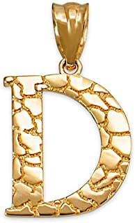 10K Yellow Gold Nugget Initial Letter Alphabet Charm Pendant