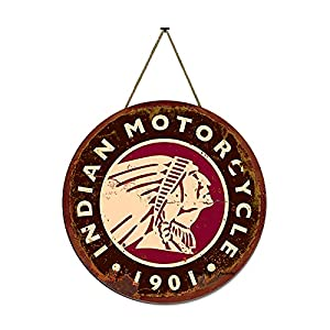 Aowotu Indian Motorcycle 1901 Sign Round Wood Hanging Sign Wall Painting Retro Poster for Garage Motorcycle Club Man Cave Home Bar Gift 11.8×11.8inch