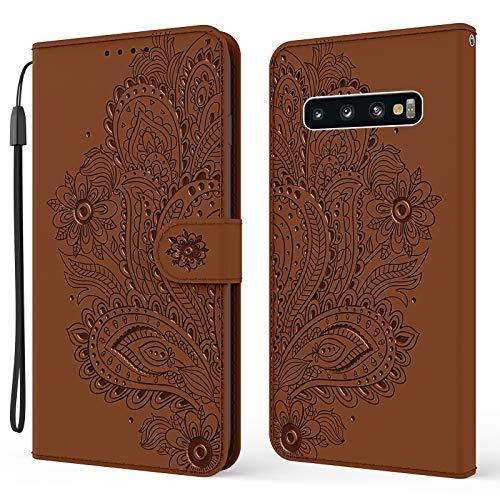 Nadoli Brieftasche Hülle für Samsung Galaxy S10 Plus,Schön Geprägt Pfau Blumen Pu Leder Magnet Handyhülle Tasche Schutzhülle Handytasche Klapphülle Standfunktion mit Kartenfächer
