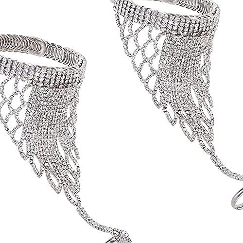 chaosong shop Pulsera de cadena de mano con cristales de estrás, 2 unidades, con anillo, cadena esclava, anillo de dedo para mujeres, niñas, novias, dama de honor