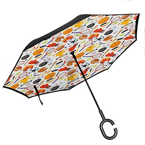 "Anyangeight Sport Reverse Umbrella Abstract Cartoon Style Sporting Goods Tennis Racket Ball Bowling Star Filled Pattern Windproof UPF50+ Big Straight Umbrella 42.5""x31.5""Inch Multicolor"