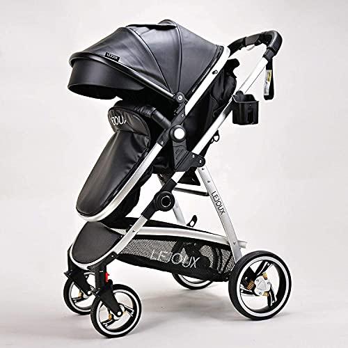 LEJOUX™ Baby Stroller Pushchair PRAM Leather Buggy Waterproof Lightweight (Jet Black)