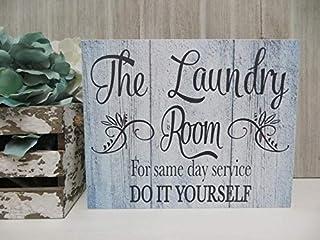 Pancarte de buanderie en bois avec inscription « The Laundry Room.For same day service Do it Yourself »