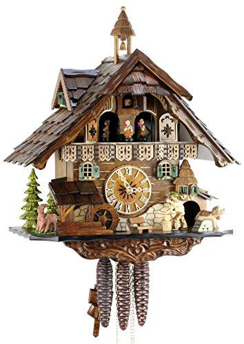 Reloj de cuco original de la Selva Negra, reloj de cuco de madera auténtica, mecanismo de 1 día, reproducción de música, certificado VDS, casa negra de la Selva Negra, 40 cm, 22304