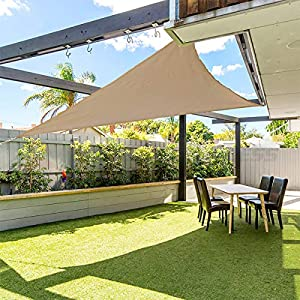 gracosy Toldo Vela de Sombra Triangular HDPE Protección Rayos UV,3.6 * 3.6 * 3.6m,para Patio, Exteriores, Jardín, Balcón,Resistente Transpirable,Prueba Viento