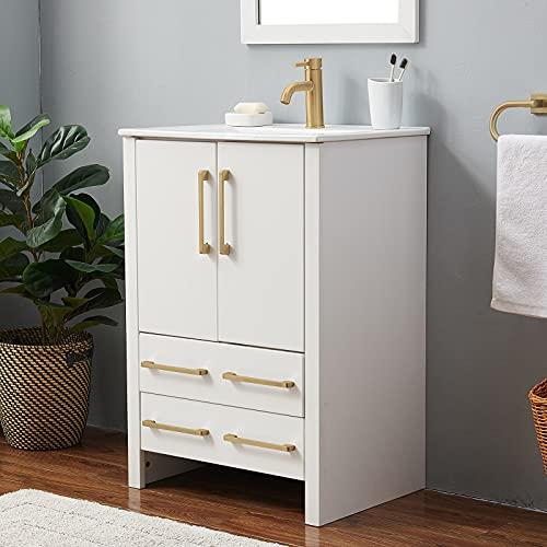Modern 24 Inch White Bathroom Vanity,Bathroom Vanity Sink Combo,Bath Vanity with White Ceramic Vessel Sink,Bathroom Vanity Cabinet with Large Storage 2 Door 2 Drawer