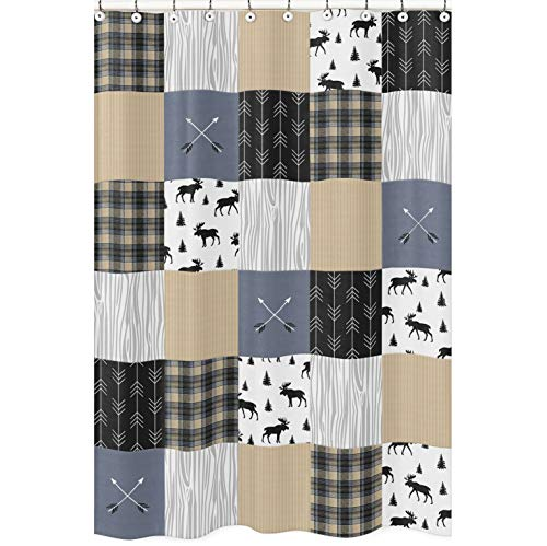Sweet Jojo Designs Badezimmer-Duschvorhang, Motiv Wald & Pfeil, Blau/Hellbraun/Grau/Schwarz