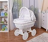 WALDIN Baby Stubenwagen-Set mit Ausstattung,XXL,Bollerwagen,komplett,25 Modelle wählbar,Gestell/Räder weiß lackiert,Stoffe weiß/Sterne
